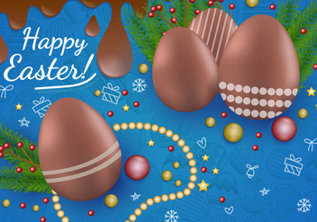 Decoration Of Chocolate Easter Egg - бесплатный vector #435239