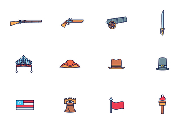 Vector Pack of American Colonial Theme - vector gratuit #435279