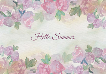 Free Vector Watercolor Summer Floral Vintage Illustration - бесплатный vector #435359
