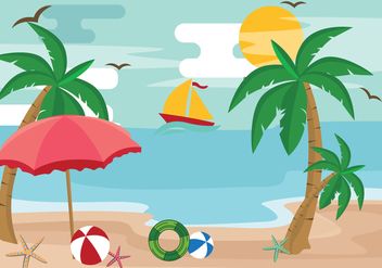 Palm Tree Summertime Vacation Vector - бесплатный vector #435389