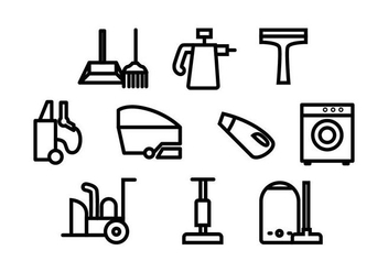 Free Cleaning Tools Line Icon Vector - Kostenloses vector #435439