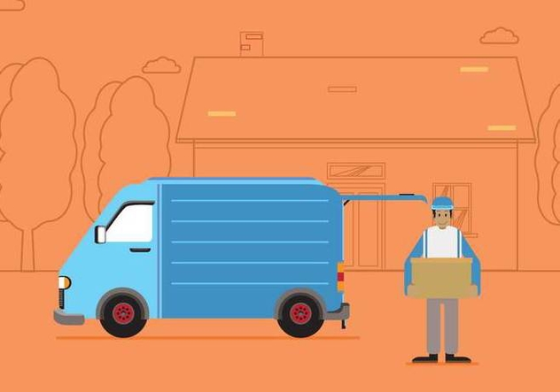 Free Moving Van With Line Silhouette House And Tree Illustration - Free vector #435509