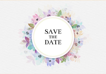 Free Vector Save The Date Watercolor Floral Frame - бесплатный vector #435519