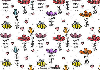Bee And Flowers Vector Background - vector gratuit #435709