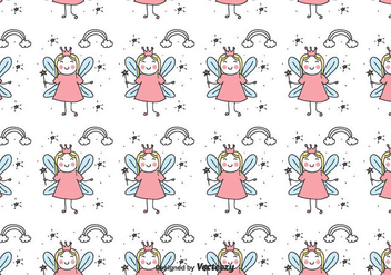 Doodle Fairy Pattern - Kostenloses vector #435789