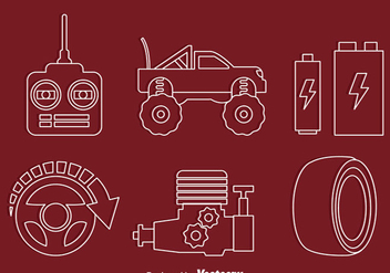Rc Car Element Line Icons Vectors - vector gratuit #435899