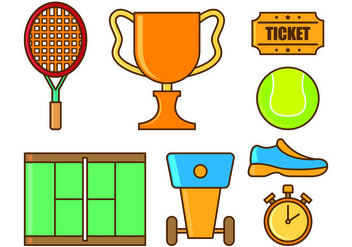 Set Of Tennis Icons - Free vector #435969