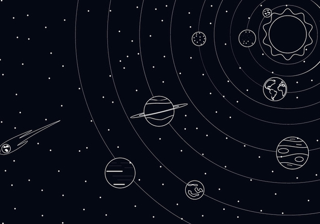 Outline Solar System Free Vector - vector gratuit #435999