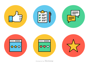 Testimonials And Feedback Flat Line Vector Icons - Free vector #436179