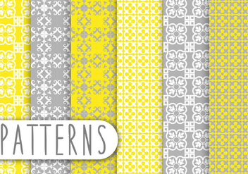 Yellow and Grey Decorative Pattern Set - vector gratuit #436219
