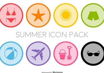 Flat Summer Icons Set - Vector - Kostenloses vector #436229