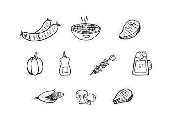 Free Barbecue Hand Drawn Icon Vector - vector gratuit #436489