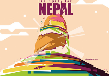Nepal Tower Vector WPAP - Free vector #436549