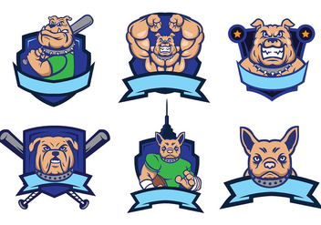 Bulldog Mascot Vector Logo Set - бесплатный vector #436629