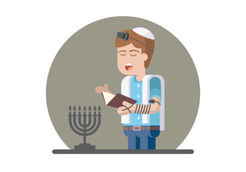Jewish Prayer Illustration - vector #436739 gratis