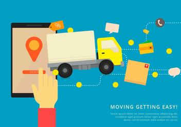 Moving Van or Truck. Transport or Delivery Illustration. - Free vector #436879