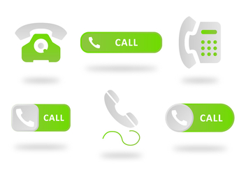 Flat Green Telephone Button - vector gratuit #436959
