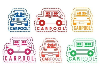 Carpool vector icon sticker set - бесплатный vector #436969