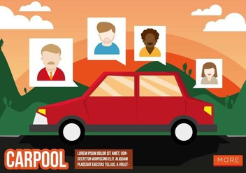 Carpool Flat Illustration Vector - Kostenloses vector #436989