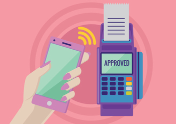 Payment in a Trade with NFC System with Mobile Phone - vector gratuit #437029