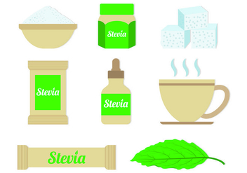Set Of Stevia Sugar Vectors - vector gratuit #437129