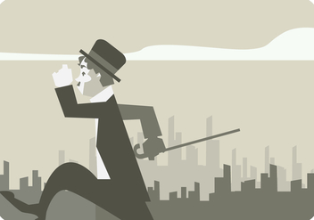 Charlie Chaplin Walking in The City Street Vector - Free vector #437139