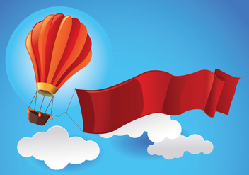 Hot Air Balloon in the Sky with Blank Ribbon Vector - Free vector #437169