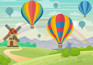 Whimsical Hot Air Ballon Landscape Vector - Free vector #437179