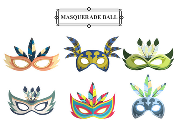 Colorful Masquerade Carnival Masks Vector Set - Free vector #437209