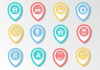Free Map Pointer Icons Vector - Free vector #437419