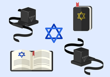 Tefillin And Judaism Traditional Symbols Vector Elements - бесплатный vector #437429
