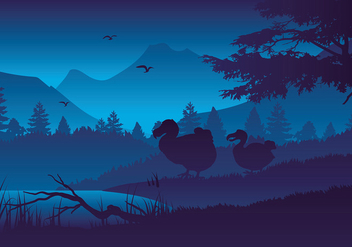 Dodo Silhouette Night Free Vector - бесплатный vector #437469