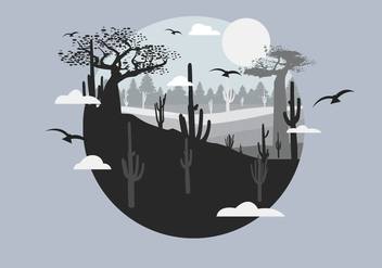 Cactus Desert with Film Grain Effect Vector Landscape - Free vector #437479