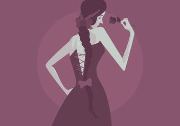 Girl With Plait And Rose Vector - Free vector #437489