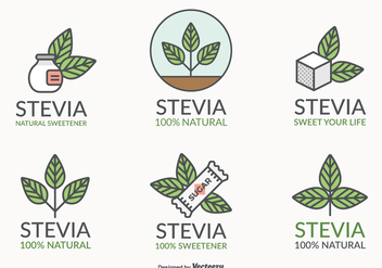 Stevia Leaf Natural Sweetener Vector Logo Set - vector gratuit #437629