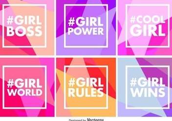 Vector Geometric Girl Power Backgrounds - Free vector #437669