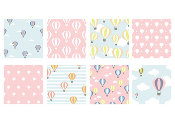 Pastel Hot Air Balloon Vector Patterns - Free vector #437789