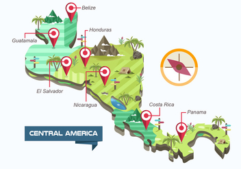 Central America Map Vector Illustration - vector gratuit #437849