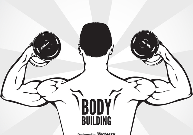 Bodybuilder With Dumbbell Flexing Muscles - vector gratuit #437879