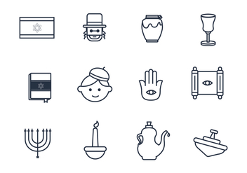 Judaism Outline Icons - vector #437889 gratis