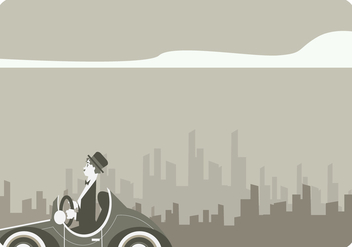 Charlie Chaplin Driving Classic Car Vector - Kostenloses vector #437949