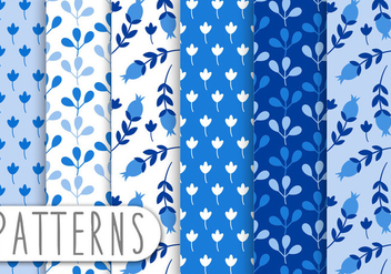 Blue Ornament Pattern Set - Free vector #438069