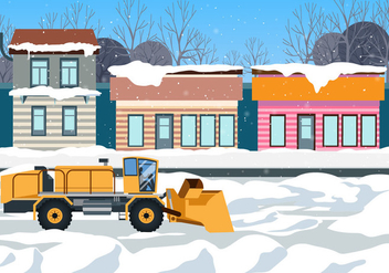 Heavy Snow Blower Cleans The Road in Front of Shops Vector Scene - Free vector #438099