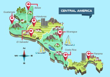 Central America Detailed Map Vector Illustration - бесплатный vector #438149