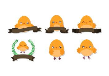 Cute Easter Chick Vectors - Free vector #438239