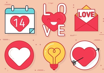 Free Vector Valentine's Icon Set - vector gratuit #438269