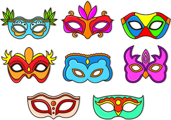 Set Of Masquerade Ball Vectors - Free vector #438349