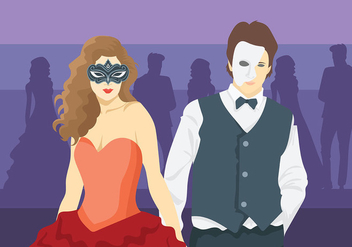 Masquerade Ball Vector Background - Free vector #438379