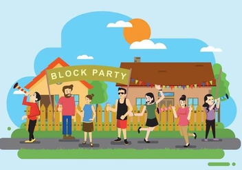 Free Block Party In Front Of Residential Illustration - vector gratuit #438419