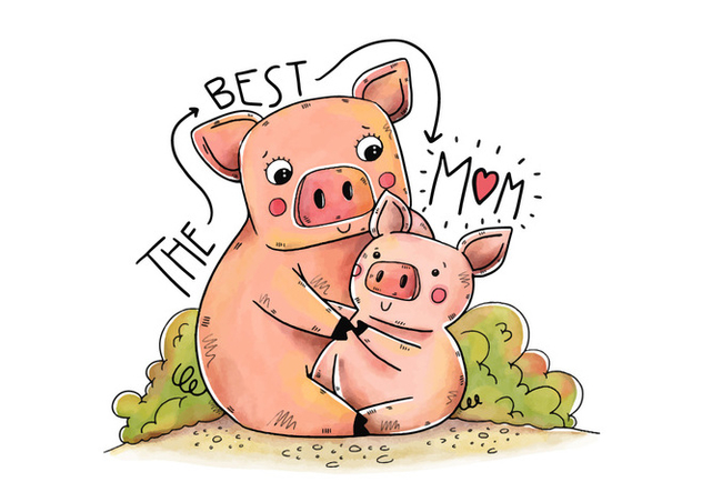 Cute Mom Piggy And Song With Lettering - Free vector #438469